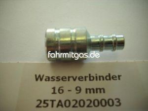 Wasserverbinder 16 auf 9mm (Metall)