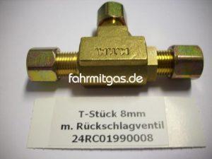 T-Stück 8mm mit Rückschlagventil