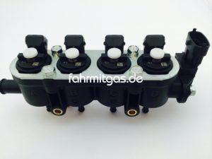 Landirenzo MED Rail 4 Zyl. Injektor weiss und Sensor