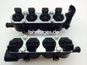 Landirenzo MED Rail 8 Zyl. Injektor schwarz und Sensor